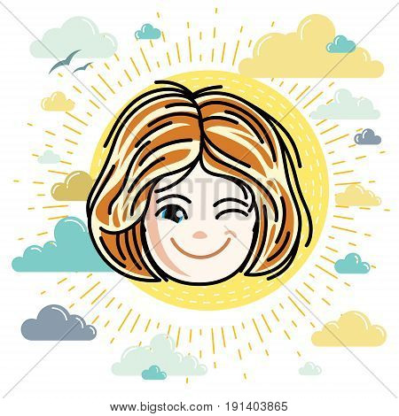 Vector illustration of beautiful red-haired happy girl face positive face features clipart. Teenager winking.