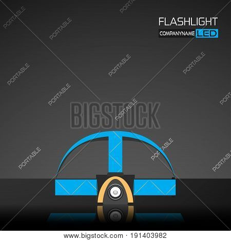 Vector promotion poster of gray head torch with blue straps and reflection on the dark gray background with a pattern of words.