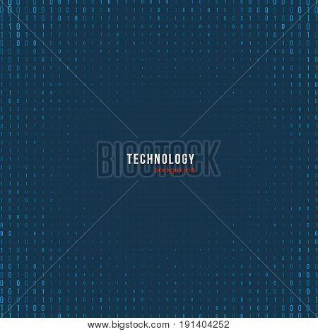 Abstract matrix digital background. Software developer programming binary computer code. Coding hacker concept. Vector illustration.