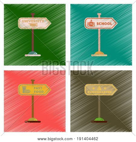 assembly flat shading style icons of University kindergarten school fast food sign