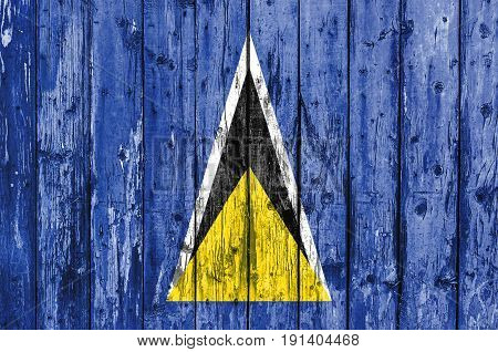 Flag of Saint Lucia painted on wooden frame