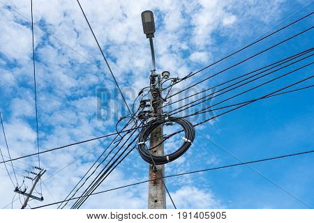 High Voltage Power Line With the lamp on the pole