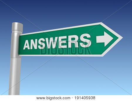 Answers Road Sign 3D Illustration