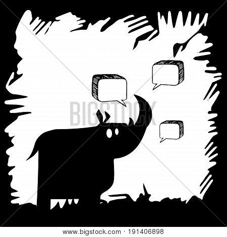 vector rhino rhinoceros animal mammal cartoon wild nature horn