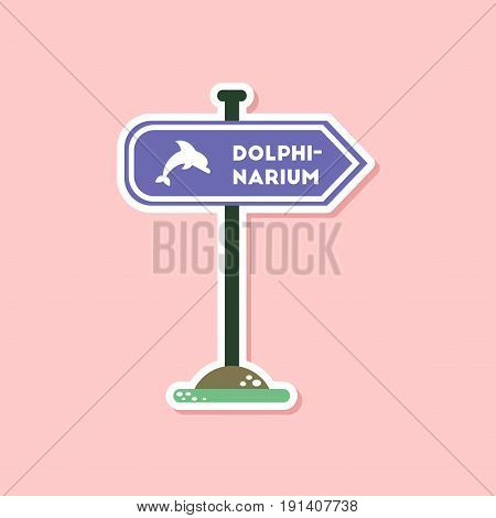 paper sticker on stylish background of dolphinarium sign