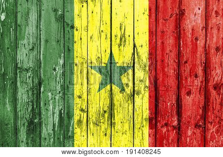 Flag of Senegal painted on wooden frame