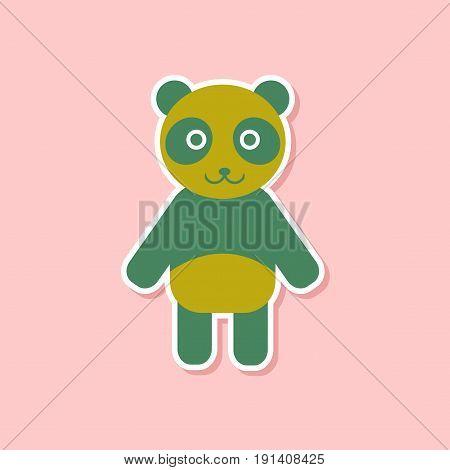 paper sticker on stylish background of Panda bear