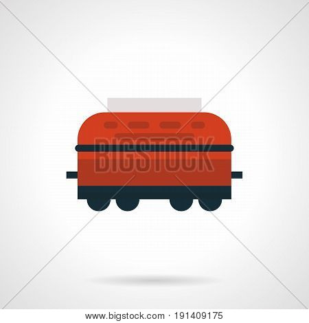 Abstract symbol of red refrigerated rail car. Railroad transportation of different freights. Flat design vector icon.