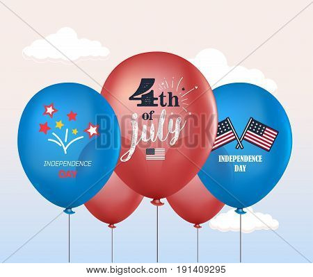 Holiday balloons. 4th of July. National celebration. Independence Day. Vector set of holiday balloons. Realistic mockup