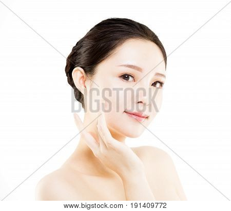 closeup young beautiful woman face isolated on white