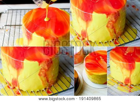 The process of casting the mirror glaze on a cake round session. Mousse. Yellow