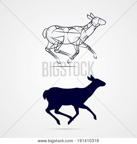 Young Female Deer Silhouette with Sketch Running on Gray Background