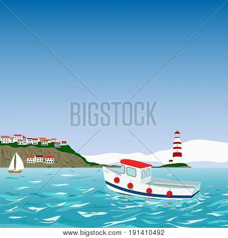 Vector illustration of Mediterranean resort with sea, beach, boat, yacht for turism, travel, hotel business illustration