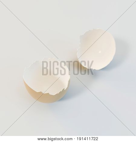 3D Rendering Brown Eggs Shell On White Background