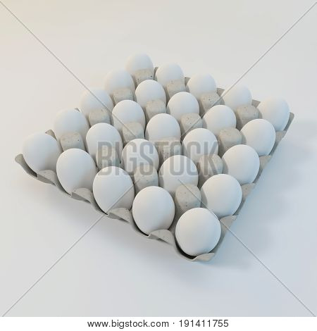 3d rendering white eggs in a carton package