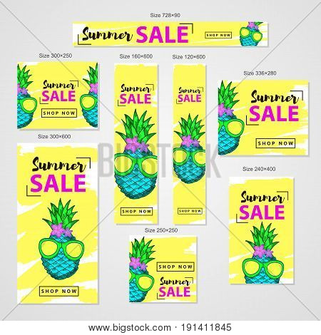 Summer sale- web banners set colorful hand drawn pineapple with flowers the in sun glasses. Vector illustration