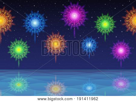 Horizontal Seamless Landscape Background, Night Tile Seascape, Silent Sea and Dark Blue Sky with Fireworks, Colorful Holiday Illustration for Your Design. Eps10, Contains Transparencies. Vector