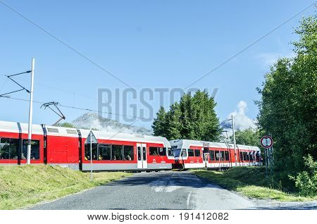 HIGH TATRAS, SLOVAKIA - JUNE 11: Train in tatres against the background of mountains, on June 11, 2017 in High Tatras, Slovakia.