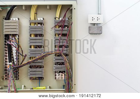 Manufacturing cabinet with electricity distribution box and wires