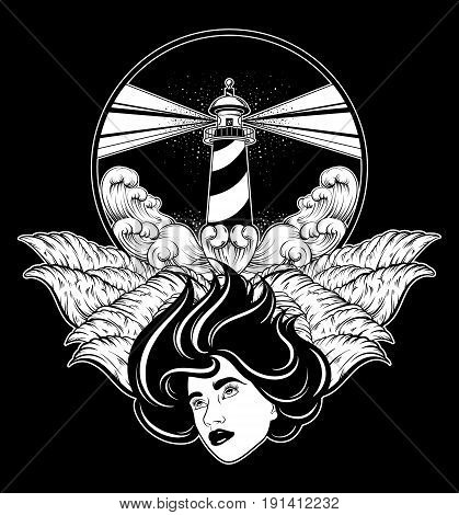 Vector hand drawn illustration of lighthouse with rays and waves. Tattoo artwork with portrait of pretty girl with wings. Template for card poster banner print for t-shirt.