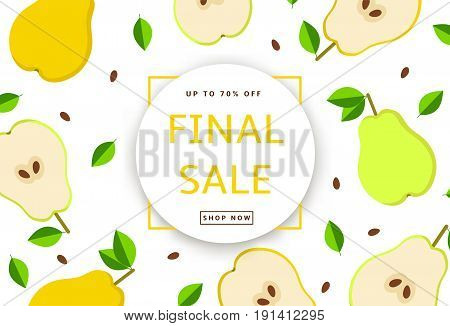 The colorful background with pears. Final Sale poster banner. Vector illustration