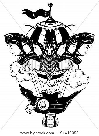 Vector hand drawn illustration of moth with female faces on the wings with air balloon. Tattoo art. Template for card poster banner print for t-shirt.