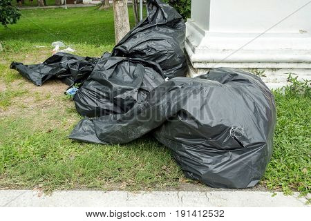 close-up of a full garbage bags on grass
