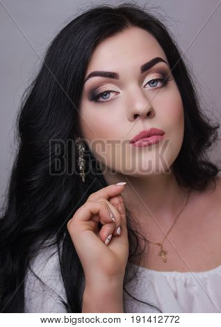 Fashion model with evening professional make-up eye make-up make-up