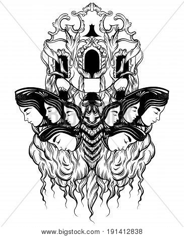 Vector hand drawn illustration of moth with female faces on the wings with flowers. Tattoo art with baroque facade. Template for card poster banner print for t-shirt.