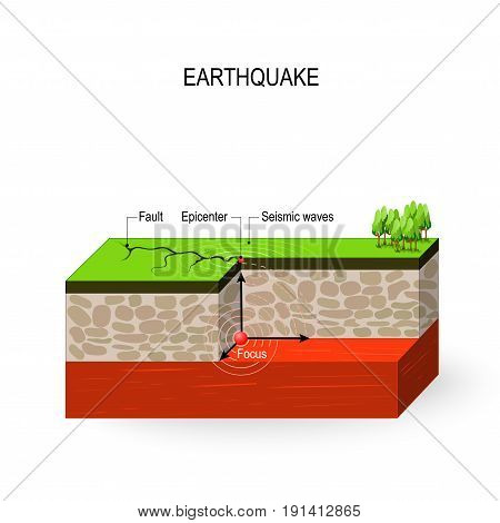 Earthquake. seismic activity: Seismic waves fault focus and epicenter earthquake