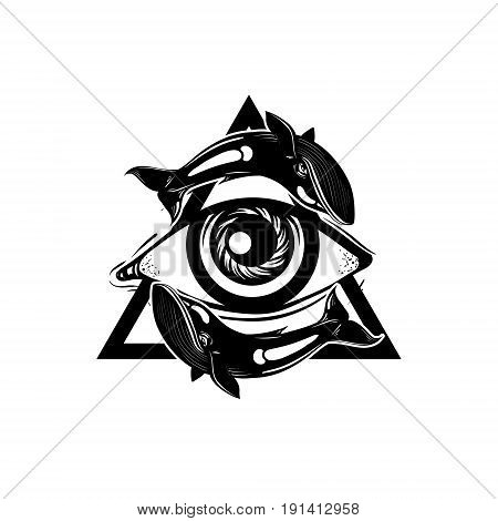 Vector hand sketched illustration. All seeing eye pyramid symbol with whales. New World Order. Hand drawn Eye of Providence. Alchemy religion spirituality occultism tattoo art. Template for poster print for t-shirt.