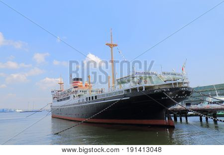 YOKOHAMA JAPAN - MAY 28, 2017: Historical Hikawamaru ship. Hikawamaru was launched in1929 and made her maiden voyage from Kobe to Seattle in 1930