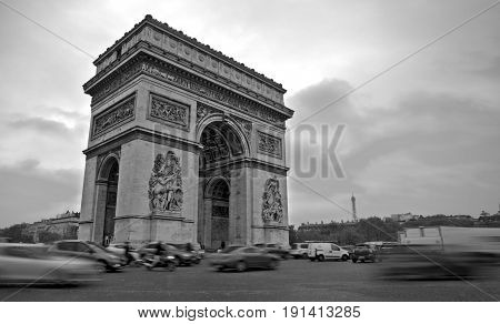 The arc of Triumph and the Eiffel tower in one black and white long exposure, Paris.