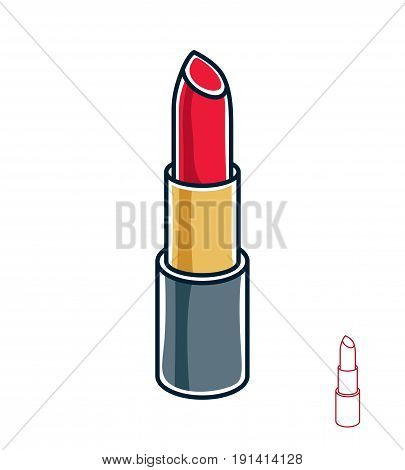 Vector illustration of single red lipstick isolated on white background. Personal cosmetic accessory glamorous beauty product.