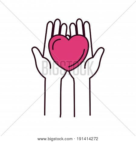 silhouette color sections front view hands holding in palms a heart charity symbol vector illustration