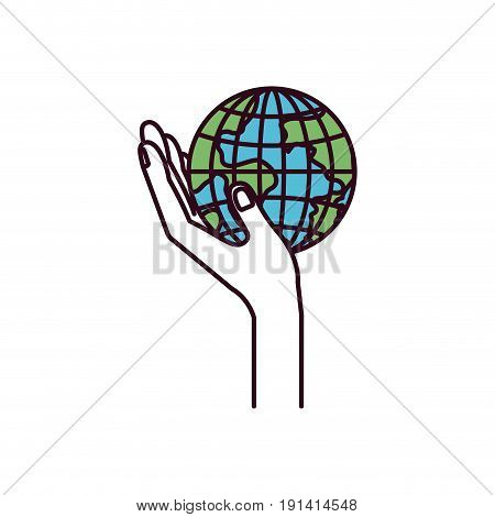 silhouette color sections side view hand holding in palm a earth globe world charity symbol vector illustration