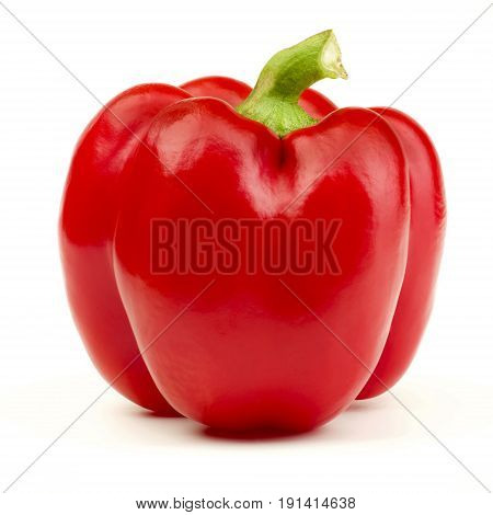 Perfect Ripe Shiny Red Bell Pepper isolated on White background