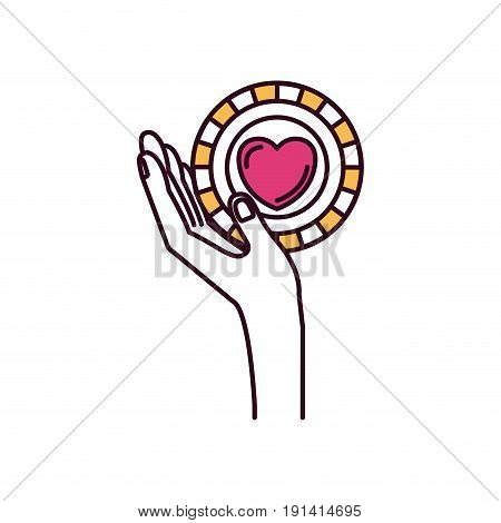 silhouette color sections side view hand holding in palm a coin with heart shape inside charity symbol vector illustration