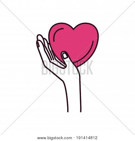 silhouette color sections side view hand holding in palm a heart charity symbol vector illustration