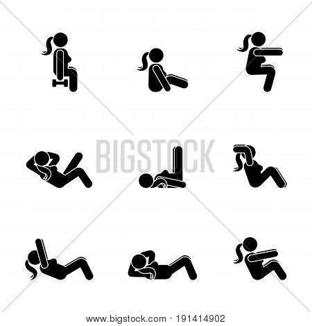 Exercises body workout stretching woman stick figure. Healthy life style vector illustration pictogram