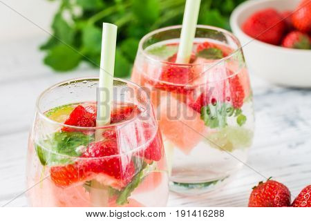 Cold Drink With Watermelon, Strawberry, Balm Mint. Close Up