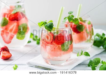 Cold Drink With Watermelon, Strawberry, Balm Mint