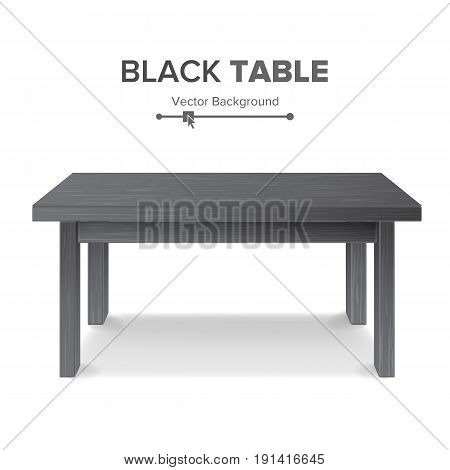 Black Table, Stand Vector. 3D Stand Template For Object Presentation. Realistic Vector