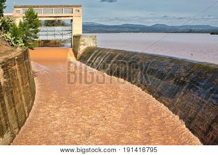 Panoramic view of the dam of Guadalen at full capacity in the province of Jaen Spain