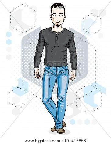 Confident handsome brunet young man standing. Vector illustration of male with beard wearing casual clothes jeans pants and sweatshirt.
