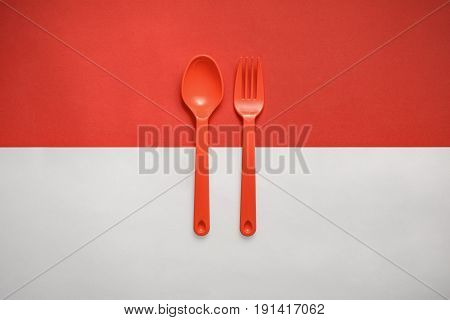 Indonesian Flag With Fork And Spoon