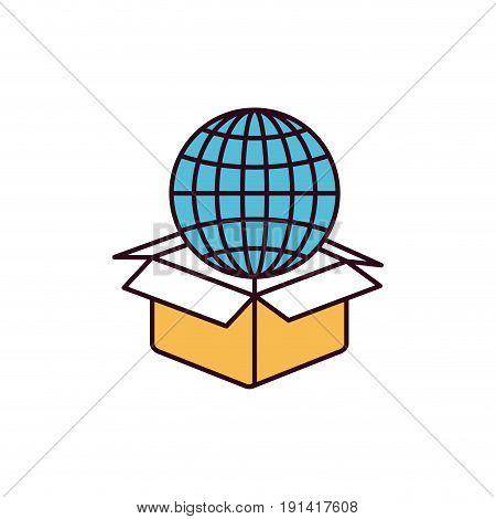silhouette color sections globe earth world chart coming out of cardboard box vector illustration
