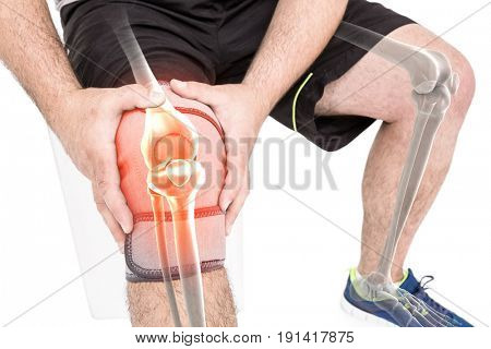 Digitally generated image of man holding sore knee against white background
