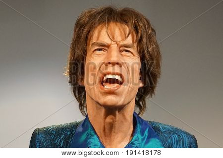 May 8. 2017 Museum of wax statues Grevin in the capital of the Czech Republic in Prague: Mick Jagger - Musician Worldwide he became famous as the frontman and vocalist of The Rolling Stones