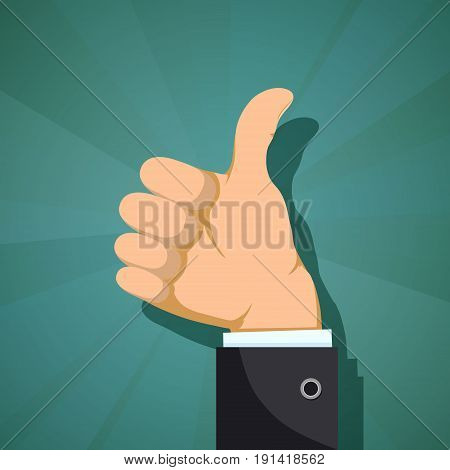 Human hand with thumb up. Customer feedback concept. Stock vector flat graphics.